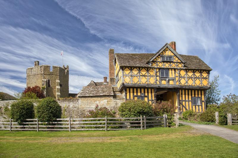 Stokesay Castle Gatehouse and South Tower, Shropshire, England. The stunning 17th century gatehouse that is the entrance to the famous Stokesay Castle, one of stock photos