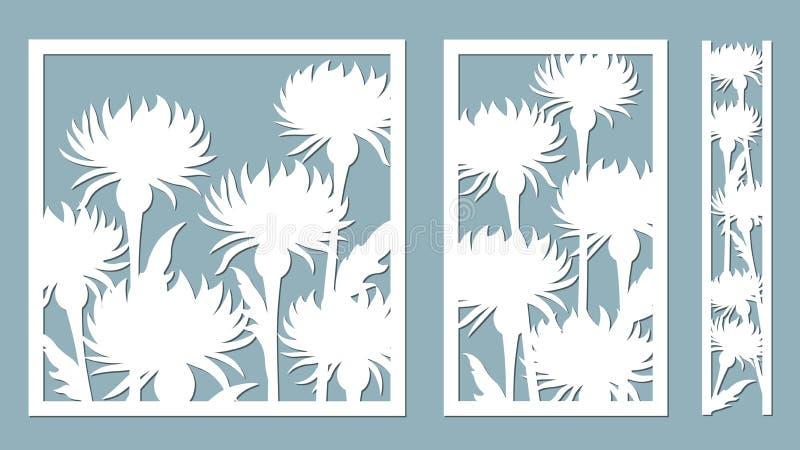 Stokesia också vektor för coreldrawillustration Ställ in av den pappers- blomman, klistermärkear Laser-snitt Mall för laser-klipp stock illustrationer