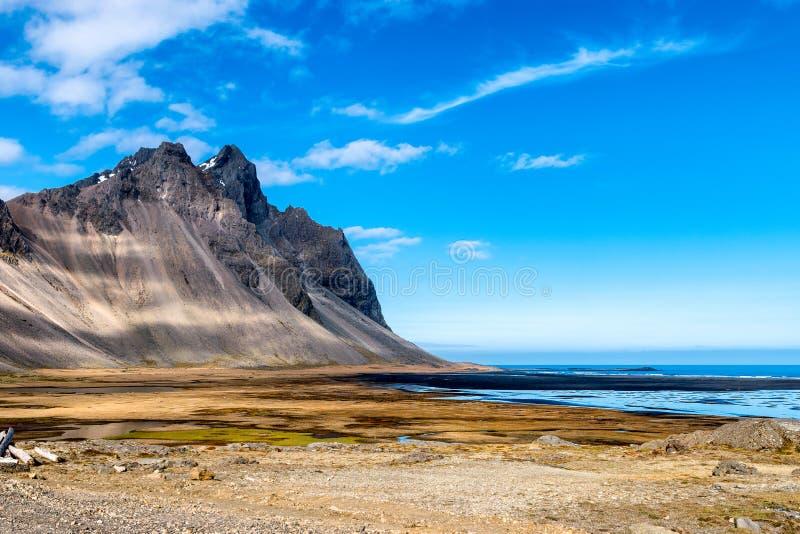 Stokksnes Iceland. Mountain and the coast at Stokksnes Iceland royalty free stock photography