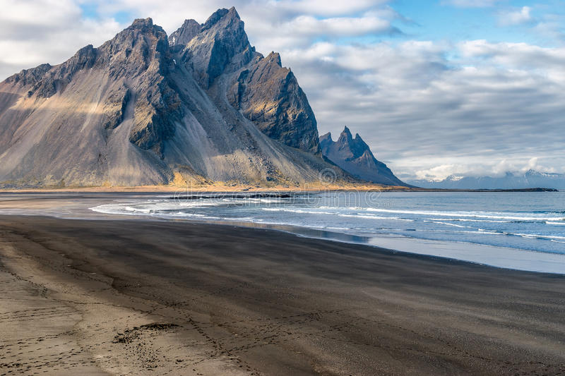 Stokksnes Iceland. Mountain and the coast at Stokksnes Iceland stock images