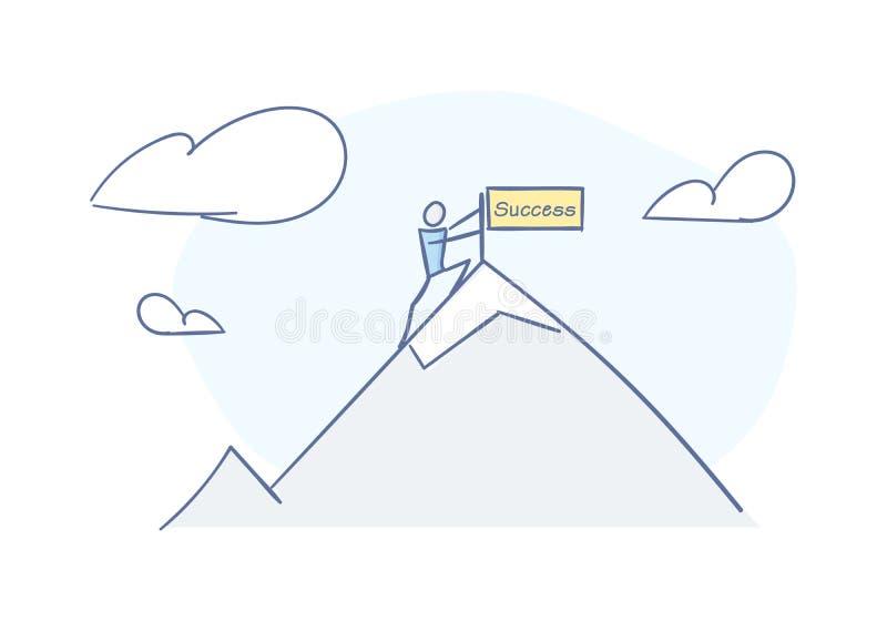 Stokmens die bovenkant van de berg bereiken die succes en voltooiing vertegenwoordigen De vectorillustratie van de karakterkrabbe royalty-vrije illustratie