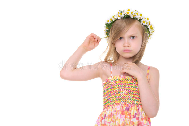 stokrotek dziewczyna obrażający wianek obraz royalty free