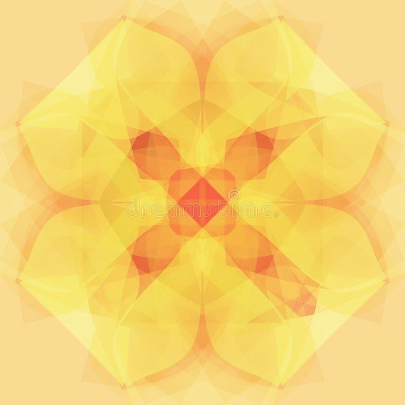 Stokrotka kwiatu mandala w jasnożółtym, jaskrawym wizerunku, abstrakcjonistyczny tło w beżu royalty ilustracja
