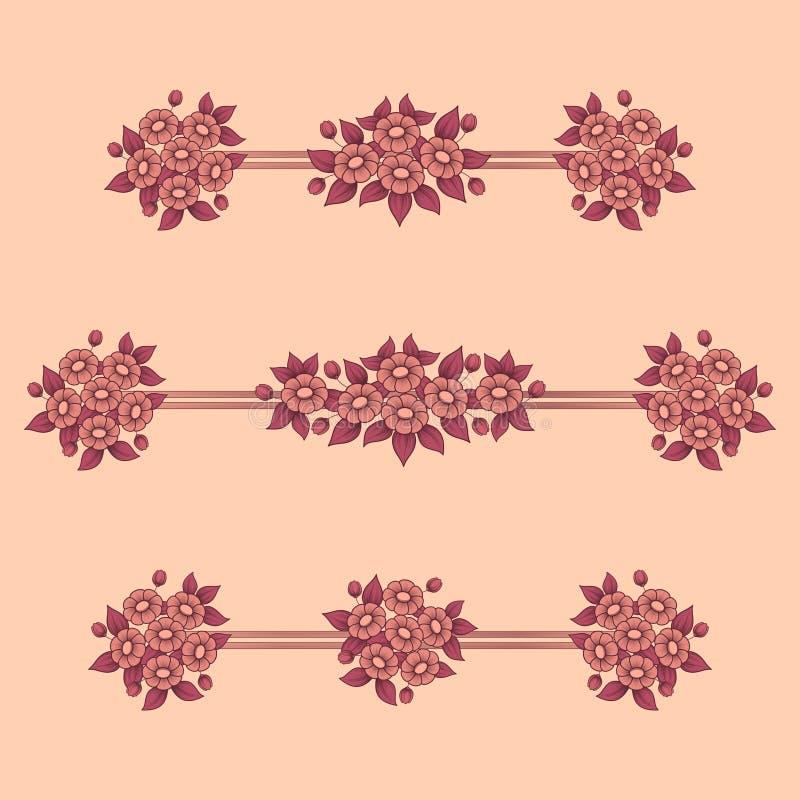 Stokrotka kwitnie koralowych liniowych wzory ilustracji