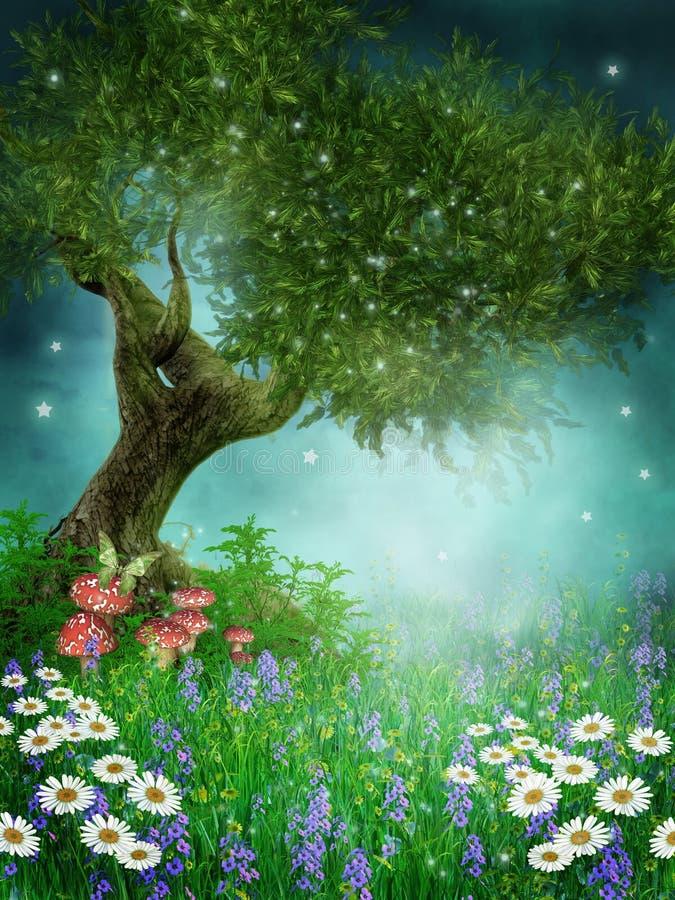 stokrotki zielenieją łąkę ilustracja wektor