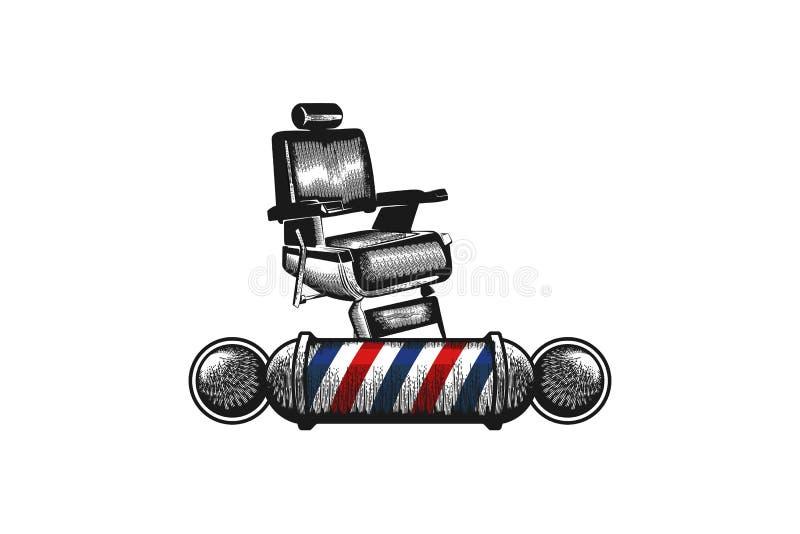 Stol barberarepolen, Barber Shop Logo Designs Inspiration isolerade på vit bakgrund stock illustrationer