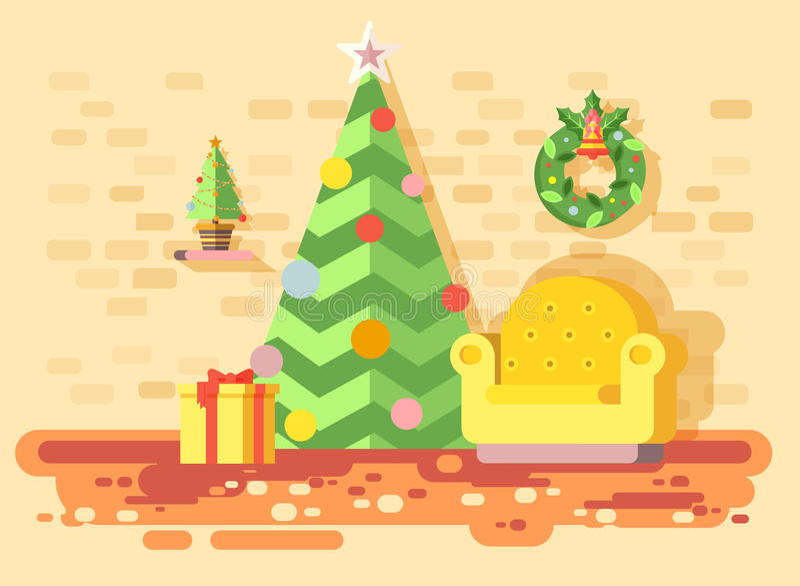 Stol för hemmiljö för vektorillustrationtecknad film bekväm, rum med julgrangranen, lyckligt nytt år som är glat royaltyfri illustrationer