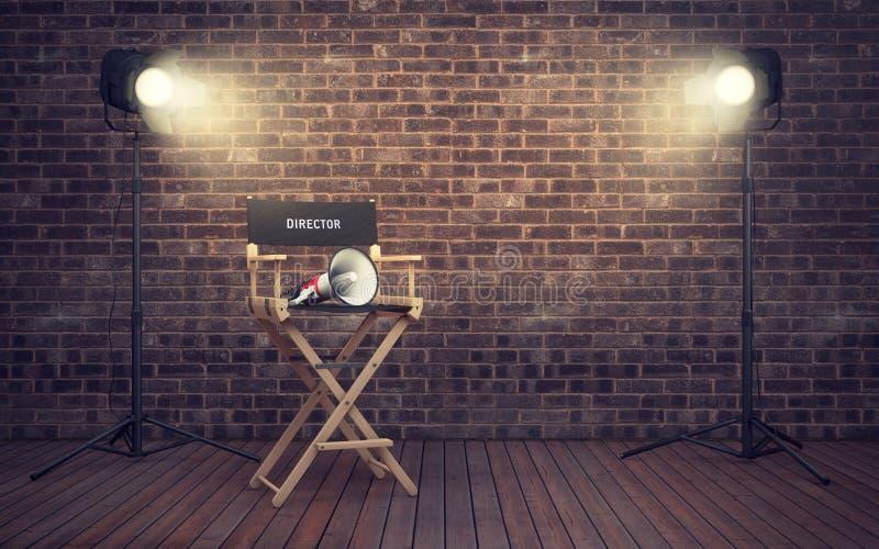 Stol för ` s för filmdirektör med megafonen och strålkastare renderin 3D vektor illustrationer