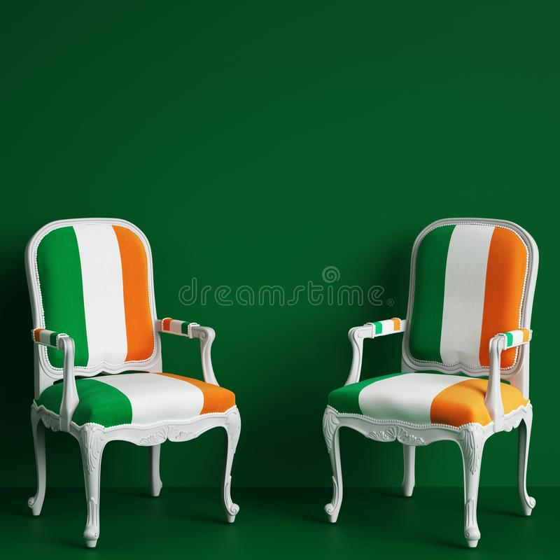 Stol i färg av den irländska flaggan på grön bakgrund med kopieringsutrymme vektor illustrationer