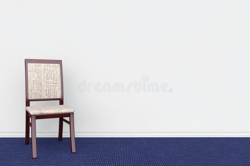 Stol i tomt grått rums vägg med blått mattar royaltyfri illustrationer