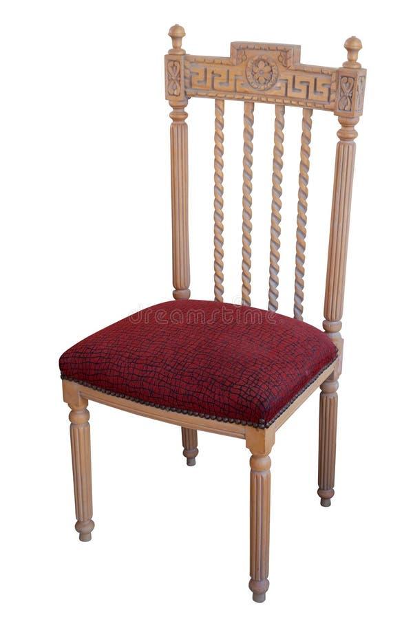stol isolerat gammalt vitt trä royaltyfri bild