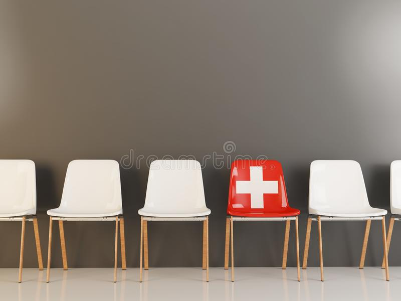Stol med flaggan av Schweiz royaltyfri illustrationer