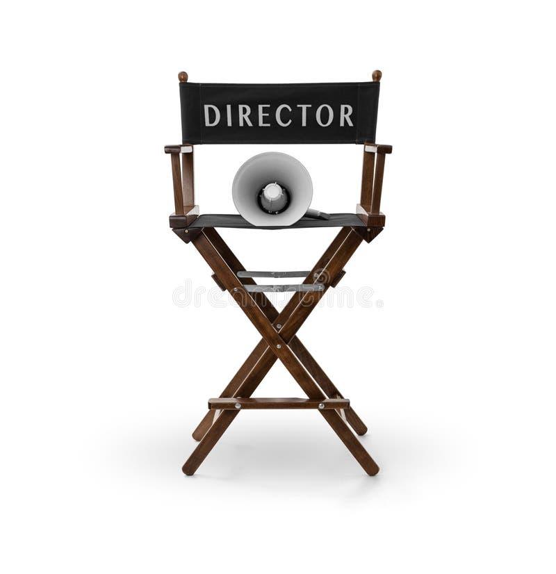 Stol och megafon för direktör` s arkivfoton