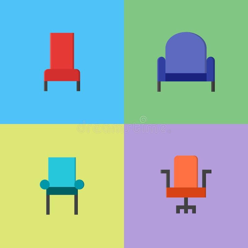 Stol och soffa av främre som är enkla royaltyfri illustrationer