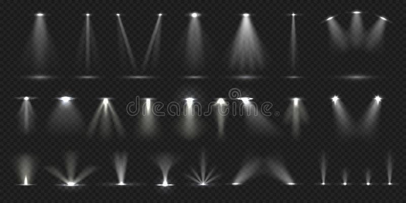 Stol p? etapp Ljus effekt för showetapp, tänd konsertplats för klubba för teatergalleridisko Realistisk vektor stock illustrationer