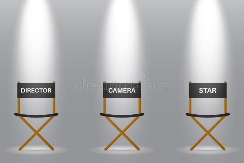 Stol tre för direktör, kamera och stjärna under strålkastaren royaltyfri illustrationer