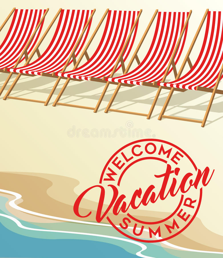 Stolar för strand för sommarsemester och tappningstrand vektor illustrationer