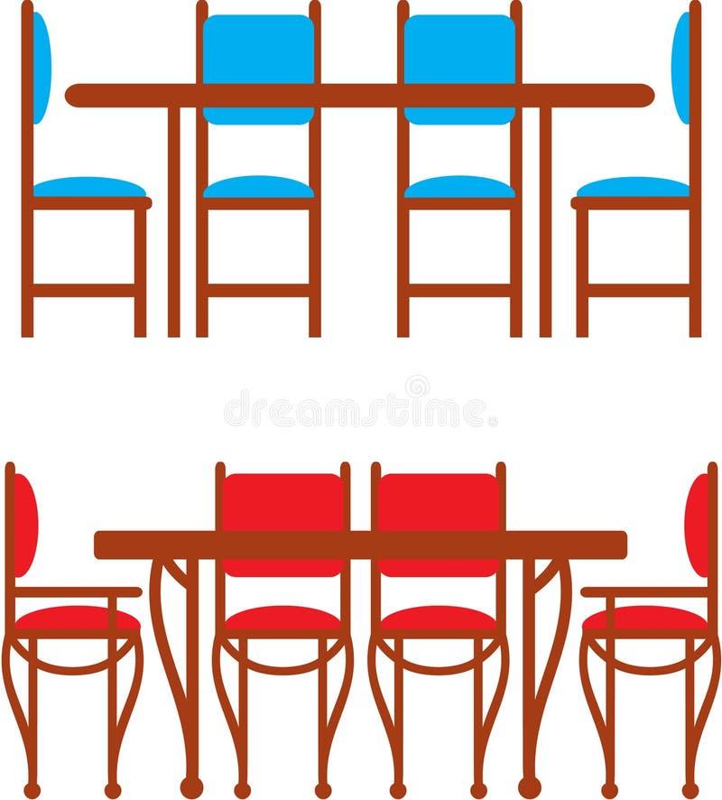 stolar som äter middag set tabeller vektor illustrationer