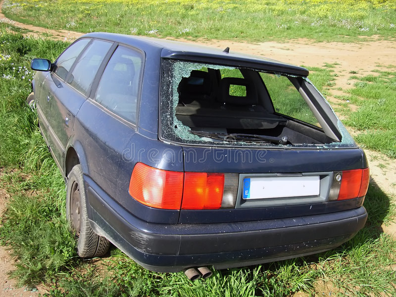 Stolen Car. Abandoned outside the city royalty free stock images