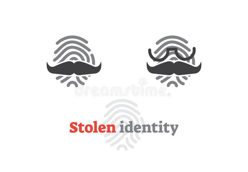 Stolen identity concept icon. Vector illustration with fingerprint and fake mustache. Digital safety sign. stock illustration