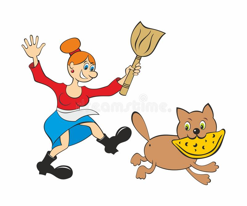 Stolen pie. The woman with the broom in hands tries to catch up with the cat who has stolen pie