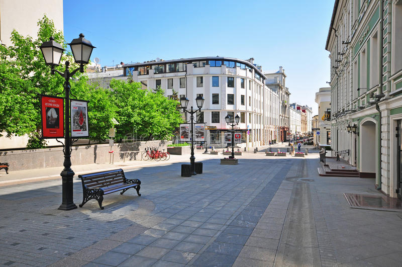 Stoleshnikov fot- gata, Moskva arkivfoton