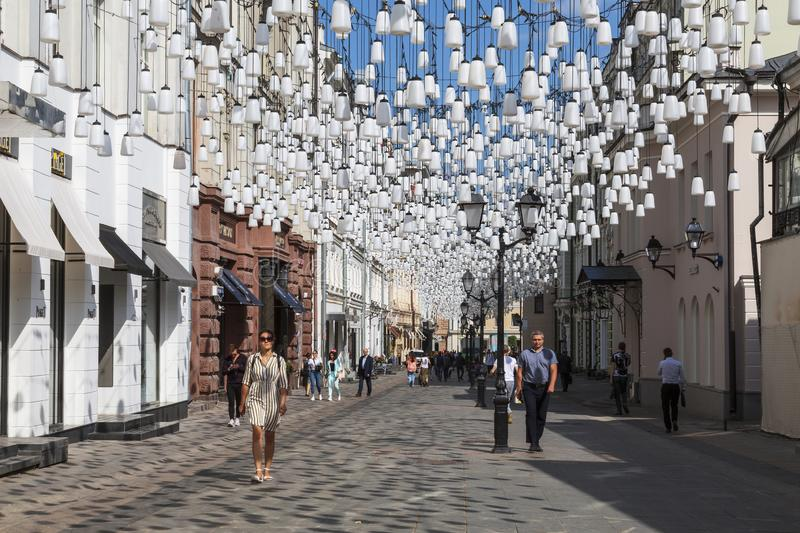 Stoleshnikov lane on a Sunny summer day, Moscow royalty free stock images