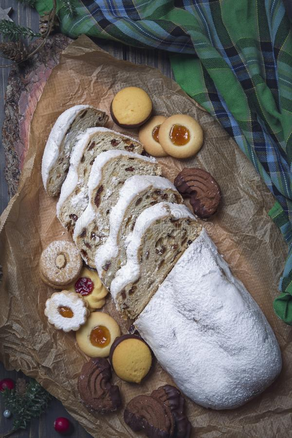 Stollen cake. And christmas cookies royalty free stock photo