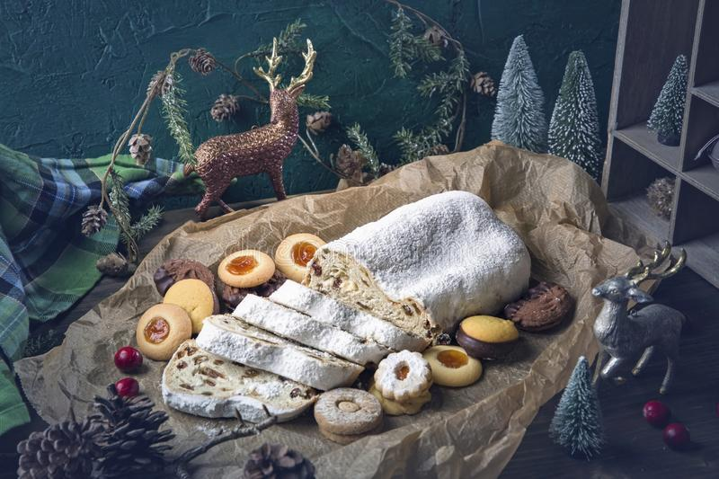 Stollen cake. And christmas cookies stock images