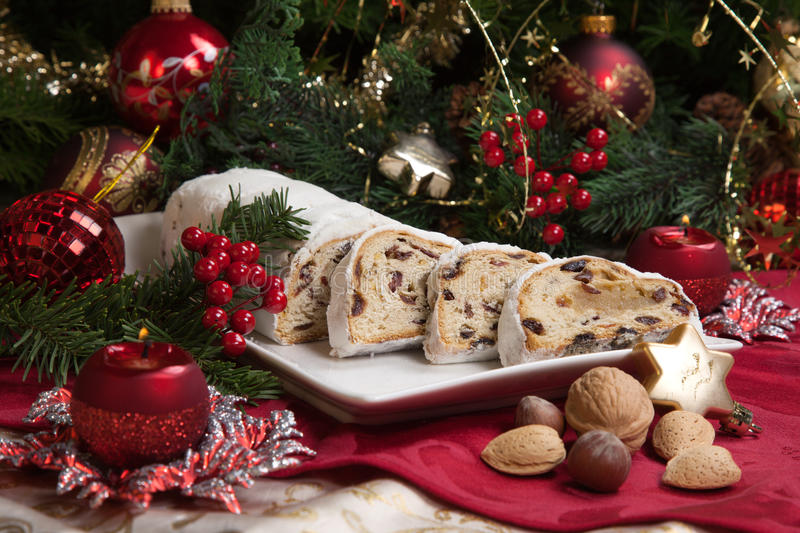 Stollen for Christmas stock photo