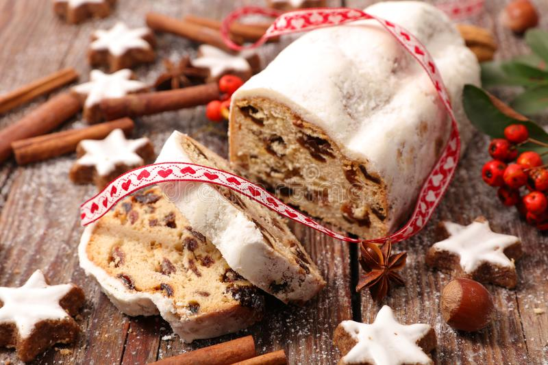 Stollen fruit, fruit stollen royalty free stock photography