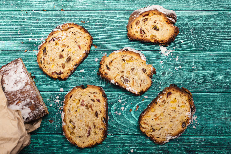 Stollen peaces on the table royalty free stock photos