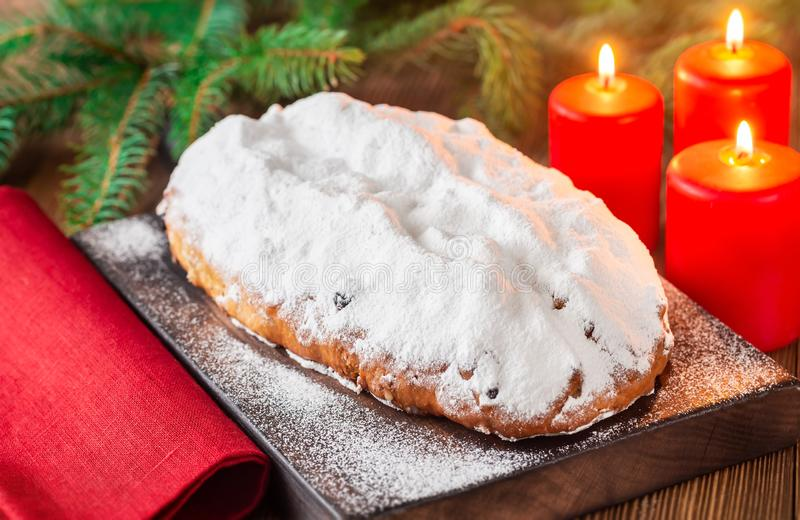Stollen - traditional German Christmas bread royalty free stock photos