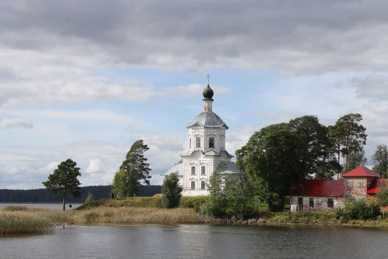 Stolobny海岛, Nilov修道院, Seliger湖在俄罗斯 库存图片