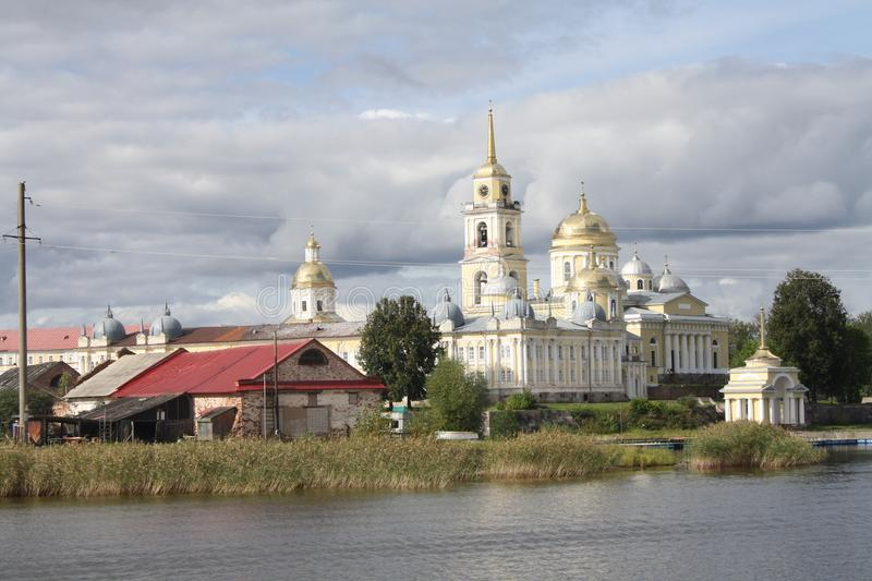 Stolobny island, Nilov Monastery, Seliger lake in Russia royalty free stock photography