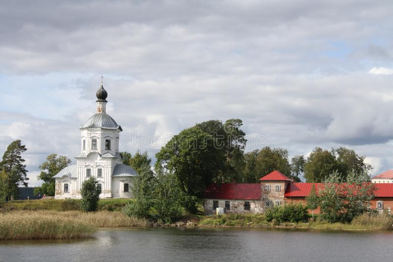 Stolobny island, Nilov Monastery, Seliger lake in Russia royalty free stock images