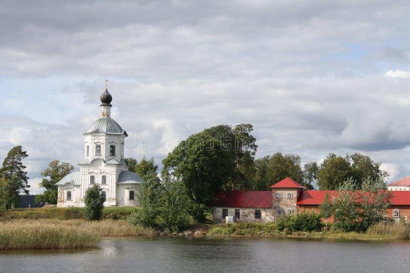 Stolobny wyspa, Nilov monaster, Seliger jezioro w Rosja obrazy royalty free