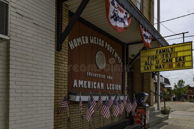 Stolpe för amerikansk legion i Sugarcreek arkivbilder