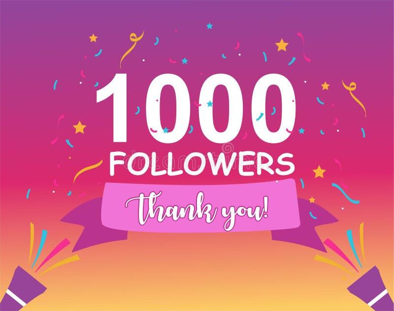 stolpe för 1000 anhängare för att fira 1000 anhängare i socialt massmedia royaltyfri illustrationer