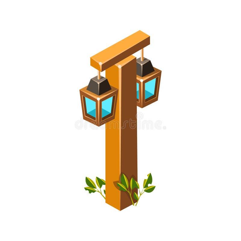 Stolpe med den stiliserade isometriska trädgårds- landskap beståndsdelen för lyktalampor stock illustrationer