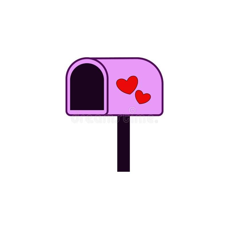 Stolpeask, hjärta, valentine'sdagsymbol Beståndsdel av färgvalentin \ 's-dagen Högvärdig kvalitets- symbol för grafisk design u stock illustrationer