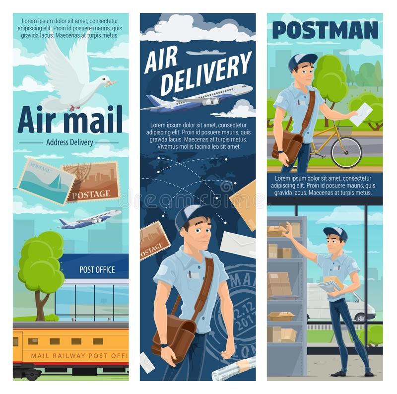 Stolpeflygposthemsändning, brevbärareyrke royaltyfri illustrationer