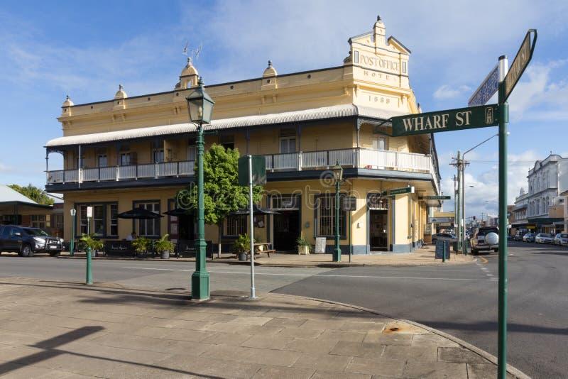 Stolpen - kontorshotell, Maryborough, Queensland, Australien royaltyfri bild