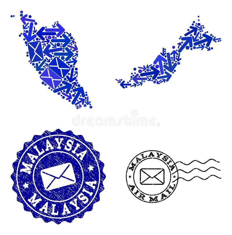 Stolpen sänder sammansättning av den mosaiska översikten av Malaysia och Grungestämplar vektor illustrationer