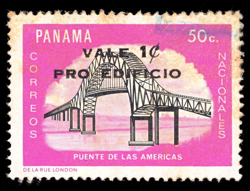 Stolpestämpel från den Panama bron av de Americas Puente de lasna Americas royaltyfri fotografi