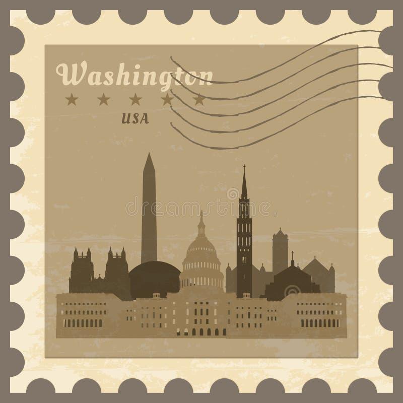 Stolpestämpel Washington vektor illustrationer
