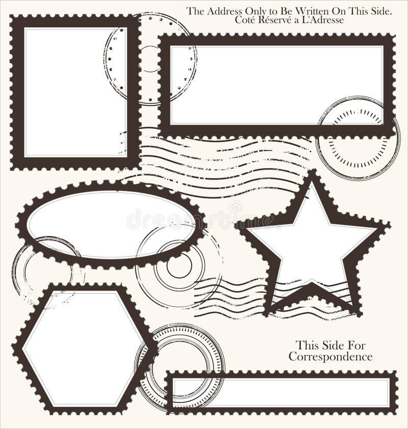 Stolpestämpeluppsättning, illustration royaltyfri illustrationer