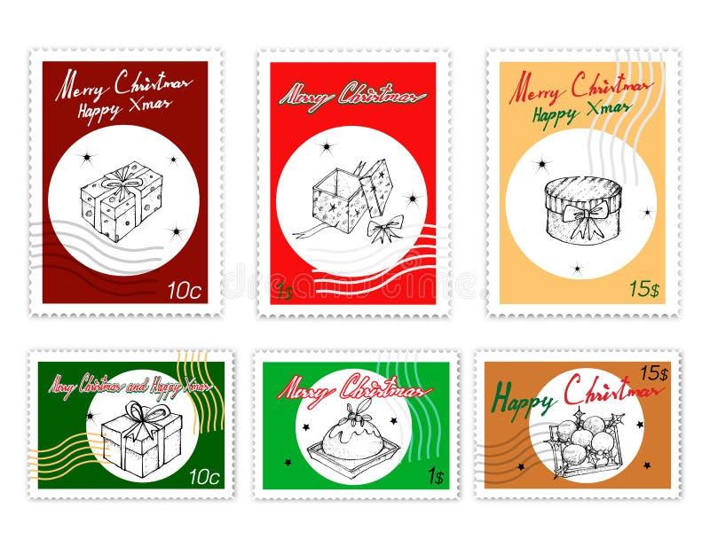 Stolpestämplar ställde in av utdragna julobjekt för hand vektor illustrationer