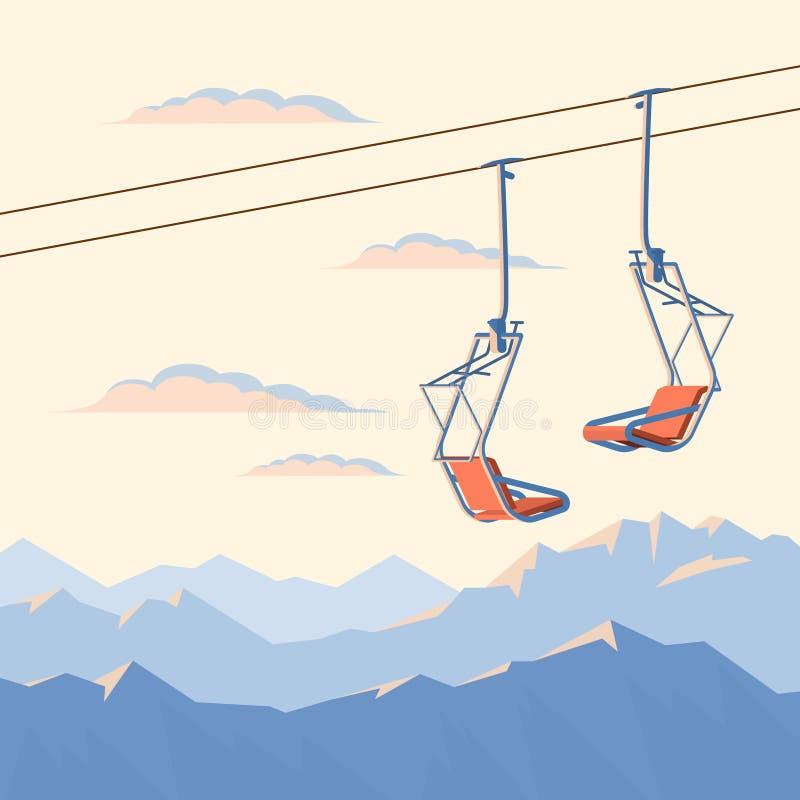 Stolskidlift för bergskidåkare- och snowboardersflyttningar i luften på ett rep på bakgrunden av korkade berg för vintersnö royaltyfri illustrationer