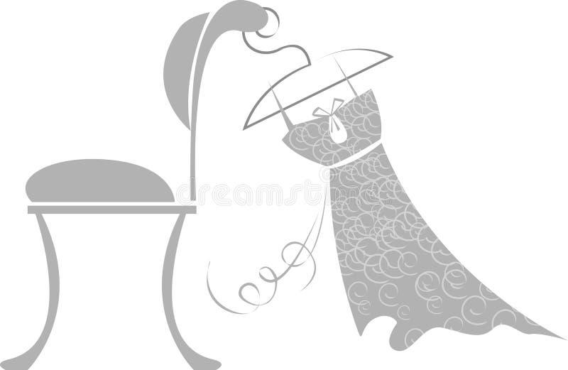 stolsklänning som hänger upp vektor illustrationer